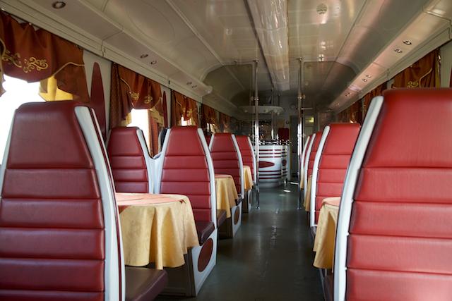 An empty dining car