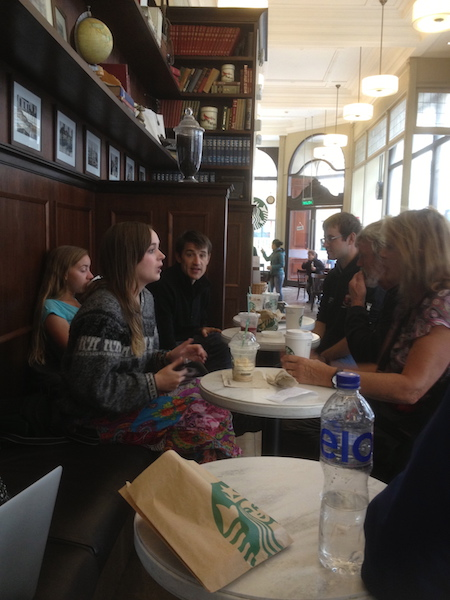 Starbucks Lima with the tour group