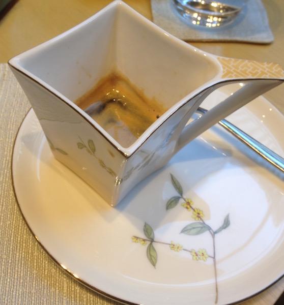 Espresso served in fine china in Mandarin Oriental Pudong