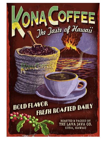 Kona coffee vintage poster