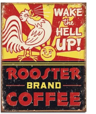 Rooster brand coffee vintage poster
