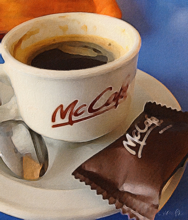 McCafe espresso served with a cookie in Montevideo Uruguay