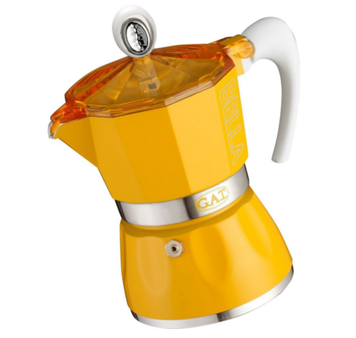 yellow stovetop espresso coffee maker