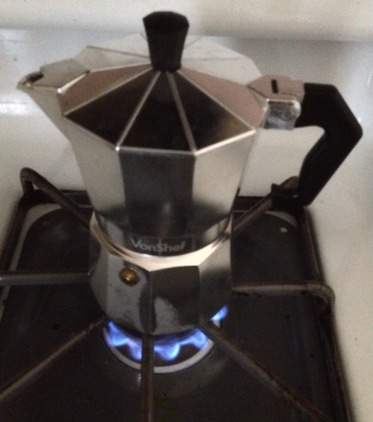 Moka pot on medium low heat