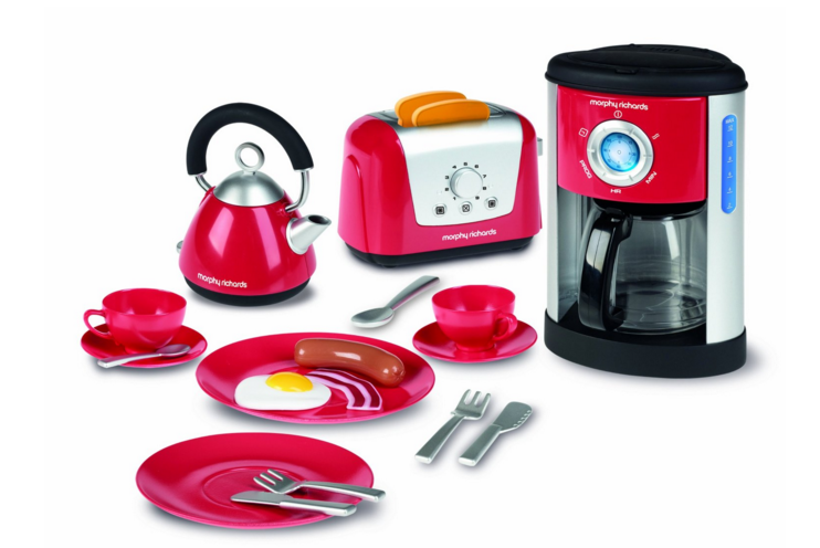 Toy coffee maker and kitchen set