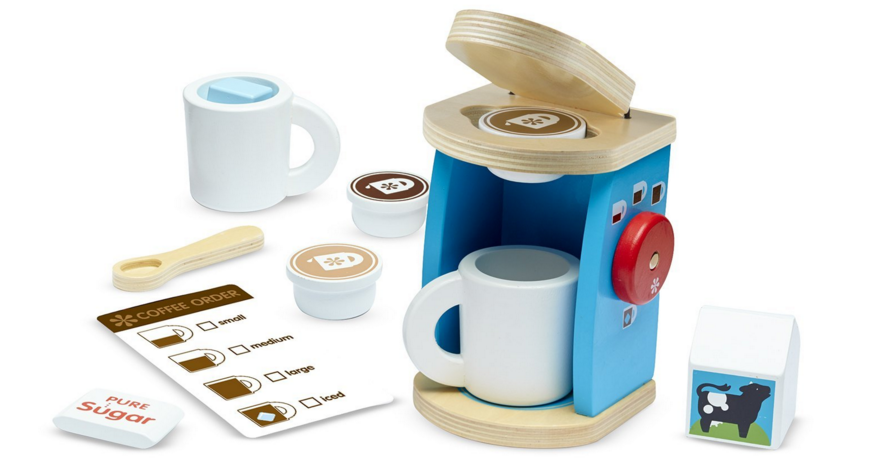 Melissa and Doug toy wooden coffee maker play set