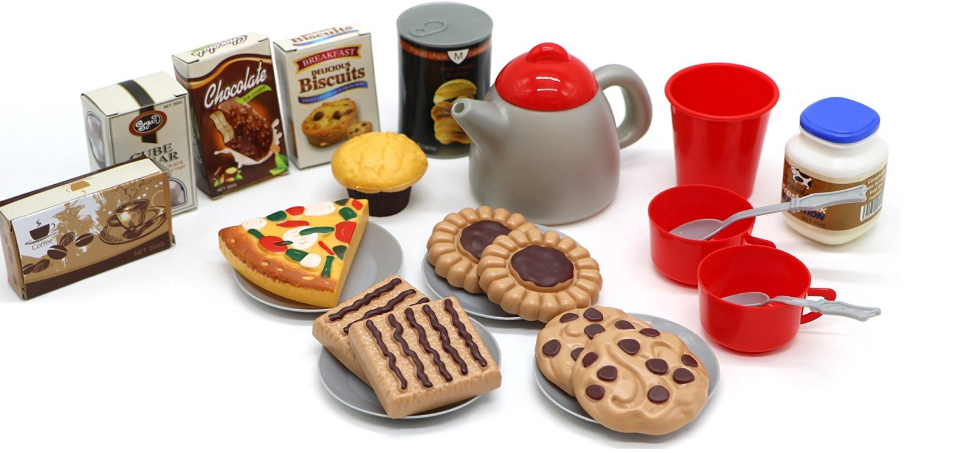 Little Treasures Coffee Pastries & Cake Pretend Play Food Eating Toy Set