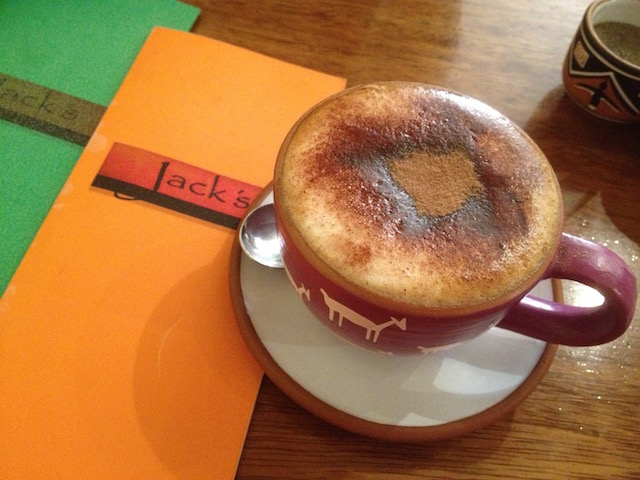 cappuccino in jacks cafe Cusco