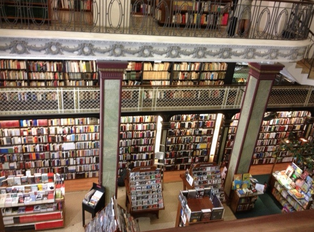 Inside Mas Puro Verso bookstore in Montevideo