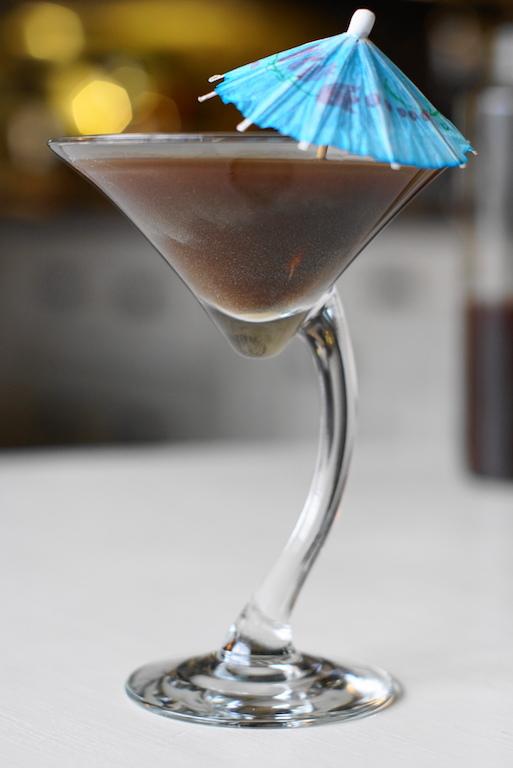 cold brew coffee in martini glass