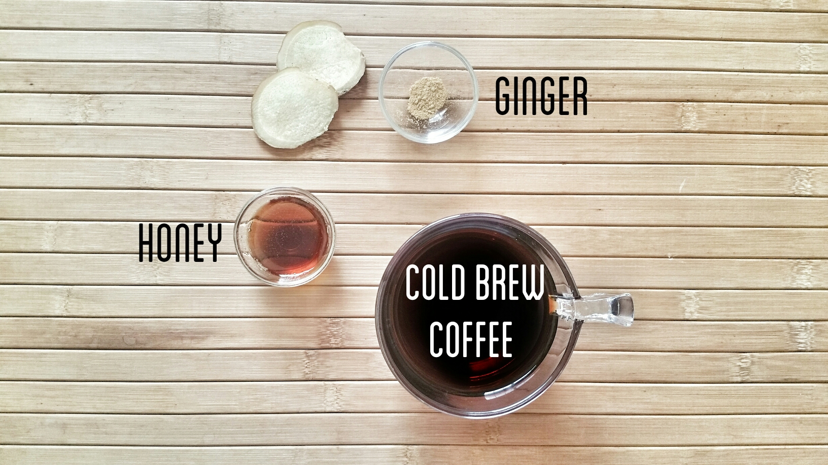 Ginger and honey in cold brew coffee