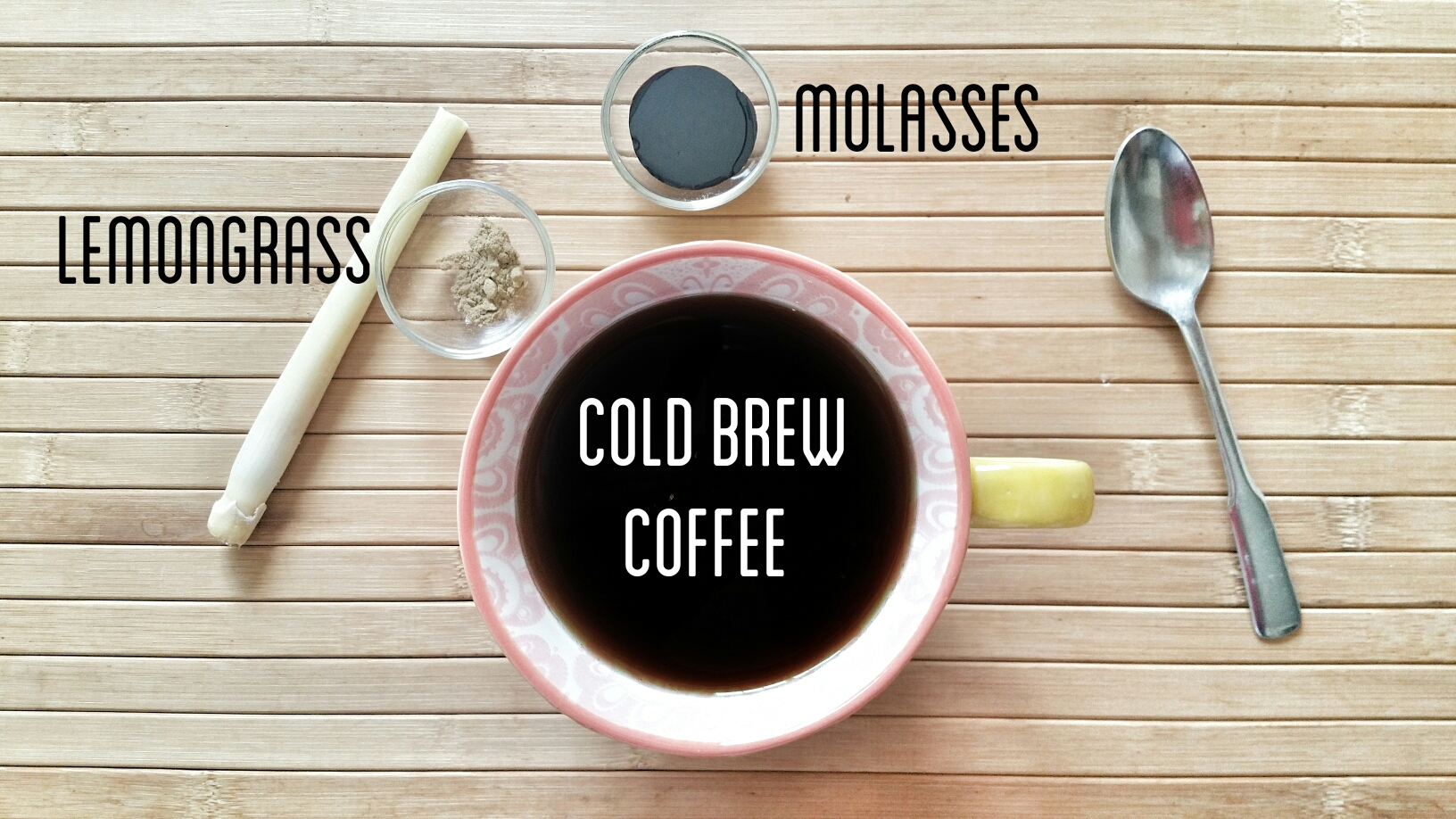 cold brew coffee with molasses and lemongrass