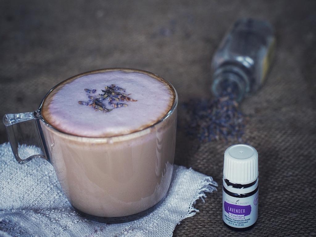 lavender latte with lavender essential oil